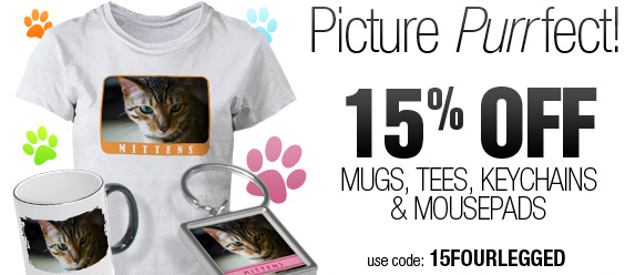 Picture Purrfect! 15% Off Mugs, Tees, Keychains & Mousepads Ends 2/15