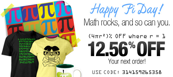 (4πr²)% Off Where r = 1; Math rocks and so can you. Today everyone is a nerd!