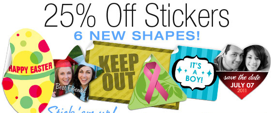 Stick 'em up!  25% Off NEW Stickers Shapes