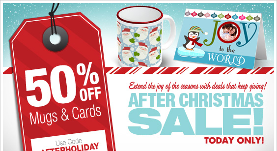 Today Only! 50% Off Mugs & Cards!