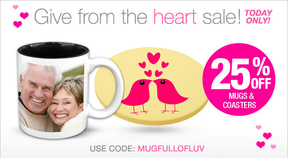 25% off Mugs & Coasters - Hurry! Today only!