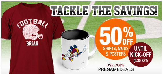 Act fast! 50% off t-shirts, mugs & posters until kick-off!