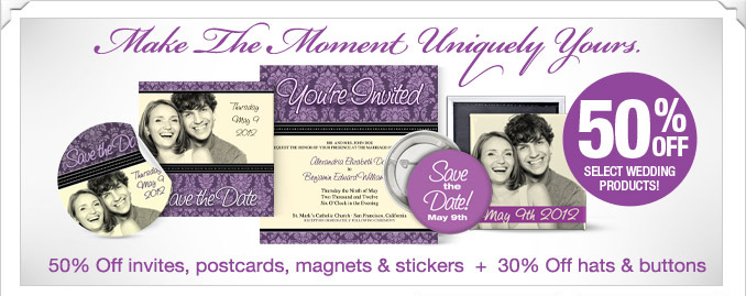 Save up to 50% in the new Zazzle Wedding  Aisle!