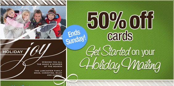 50% off cards - Get started on your Holiday mailings!