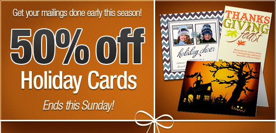 50% off all holiday cards - ends Sunday!