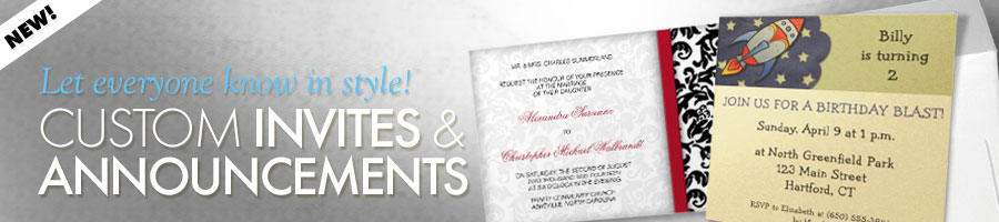 custom invites and announcements for wedding and party