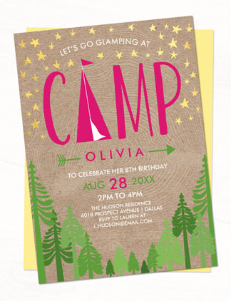 Kids Camping Invites