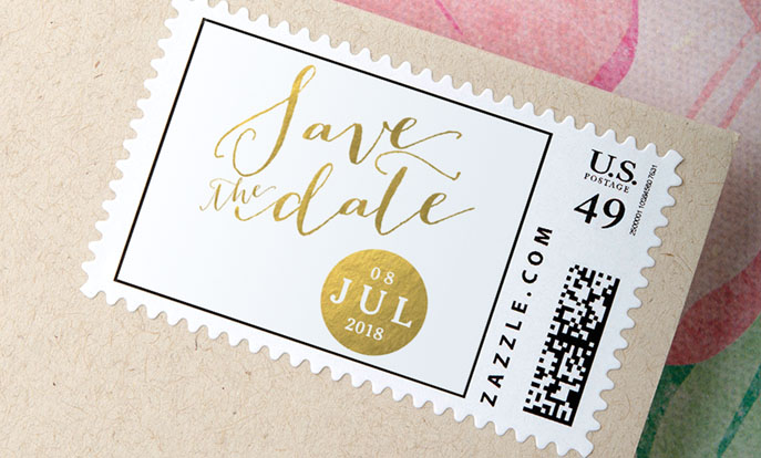 Browse the Save the Date Stamps Collection and personalize by color, design, or style.