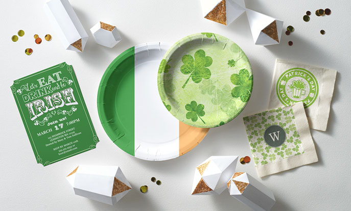 See more of our St. Patrick's Day customizable party supplies and personalize by color, design, or style.