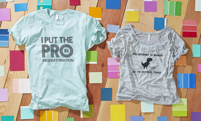 Browse the Funny T-Shirt Collection and personalize by color, design, or style.