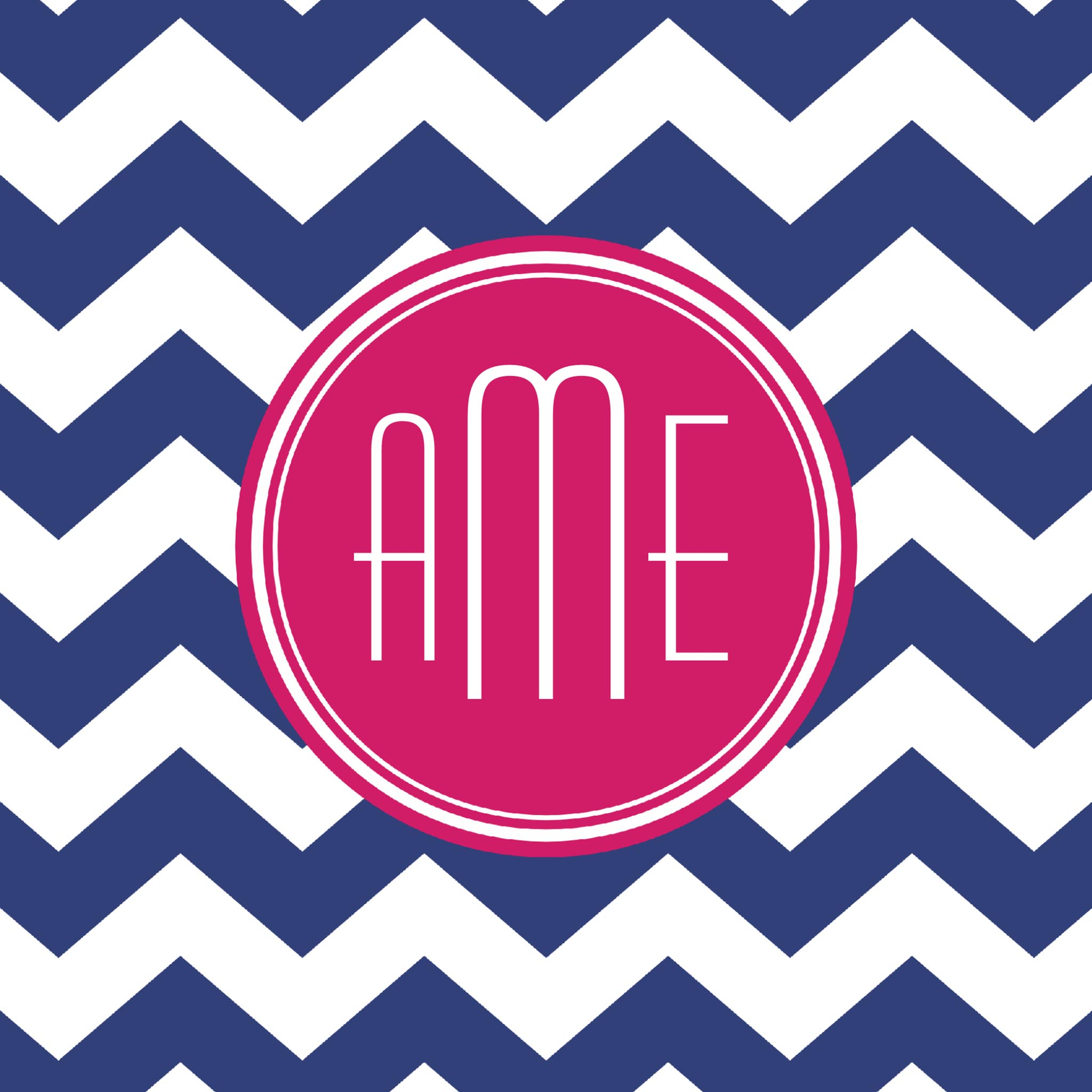 Chevron Pattern with Monogram - Navy Magenta Binder