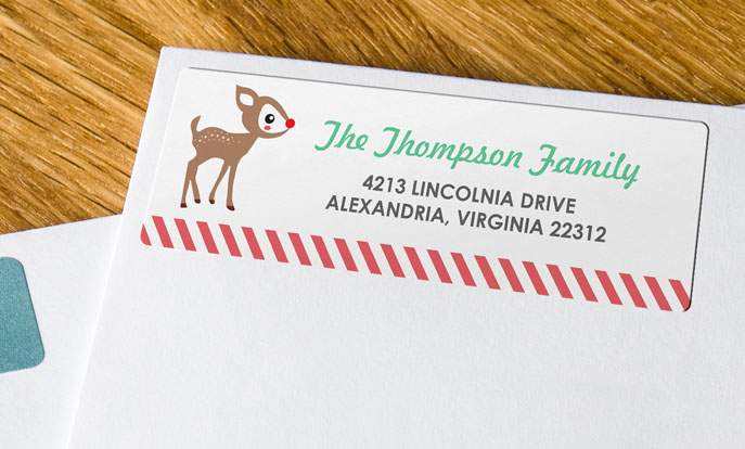 Send holiday greetings with custom address labels.