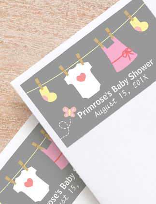 Browse the Baby Shower Labels Collection and personalize by color, design, or style.